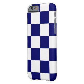 Bold Checkered Navy and White Pattern Barely There iPhone 6 Case