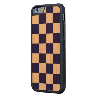 Bold Checkered Navy and White Pattern Carved Cherry iPhone 6 Bumper Case