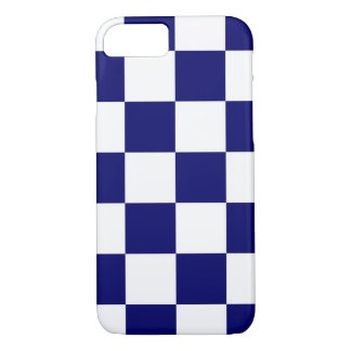 Bold Checkered Navy and White Pattern iPhone 7 Case