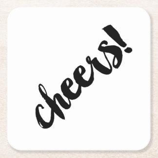 Bold CHEERS! Coasters - Black