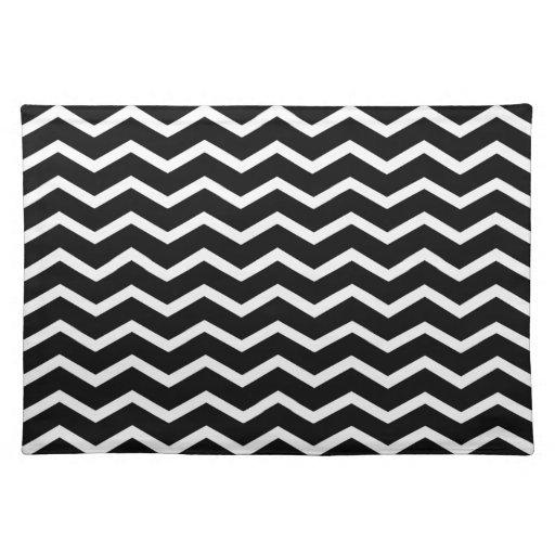 bold chevron classic black and white placemat zazzle. Black Bedroom Furniture Sets. Home Design Ideas