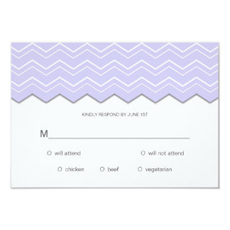 Bold Chevron Lavender Purple RSVP Card