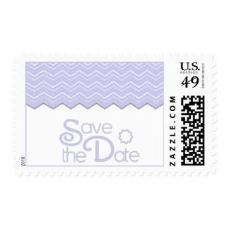Bold Chevron Lavender Purple Save the Date Postage Stamp