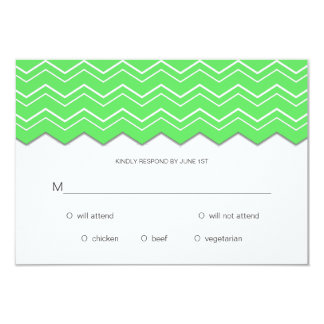 Bold Chevron Lime Green RSVP Card