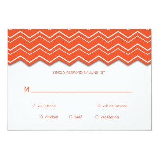 Bold Chevron Orange Tangerine Tango RSVP Card