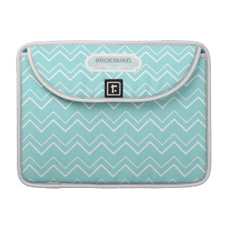 Bold Chevron Stripe Aqua White Personalized Custom MacBook Pro Sleeve
