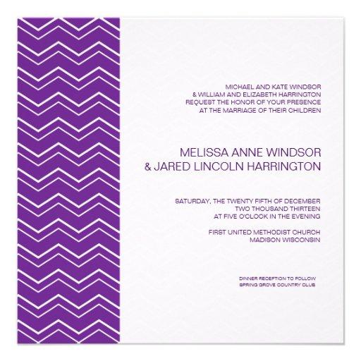 Bold Chevron Stripe Deep Purple Affordable Announcements