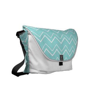 Bold Chevron Stripes Aqua Blue and White Messenger Bag