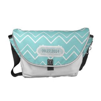 Bold Chevron Stripes Aqua Wedding Date Customized Messenger Bag