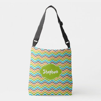 Bold Chevron Stripes Customized Add Name Bag