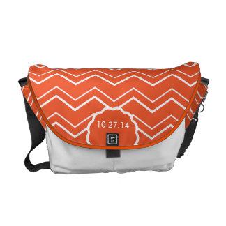 Bold Chevron Tangerine Orange Wedding Date Custom Courier Bag