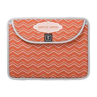 Bold Chevron Tangerine Tango Personalized Custom Sleeve For MacBooks