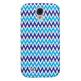 Bold Chevron Zigzags Teal Blue Striped Pattern Samsung Galaxy S4 Case
