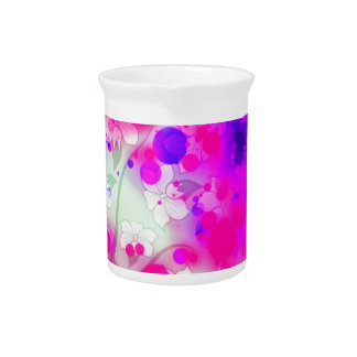 Bold & Chic Floral Pink Watercolor Abstract Drink Pitchers