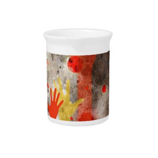 Bold & Chic Hands Red Watercolor Abstract Pitchers