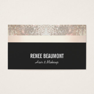 Bold Chic Modern Sequin Gold and Black Striped Business Card
