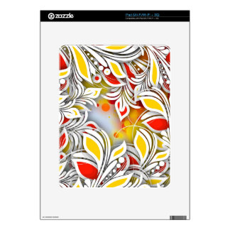Bold & Chic Red and Yellow Floral Watercolor Abstr Decal For The iPad