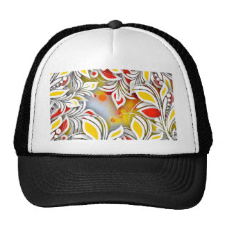 Bold & Chic Red and Yellow Floral Watercolor Abstr Trucker Hat