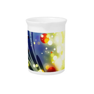 Bold & Chic Red Yellow Blue Watercolor Abstract Drink Pitcher