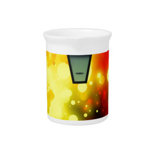 Bold & Chic Red Yellow Lamp post Watercolor Drink Pitchers