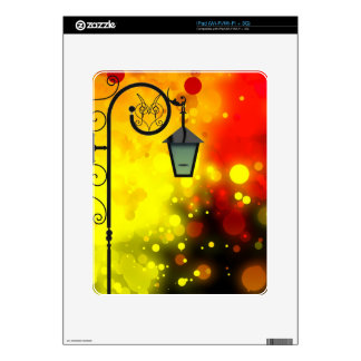 Bold & Chic Red Yellow Lamp post Watercolor Skins For The iPad
