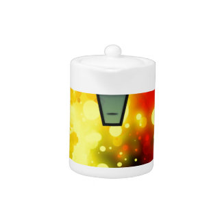 Bold & Chic Red Yellow Lamp post Watercolor Teapot