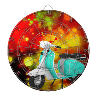 Bold & Chic Scooter Watercolor Abstract Dartboard With Darts