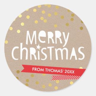 BOLD CHRISTMAS TYPOGRAPHY cool gold confetti kraft Classic Round Sticker