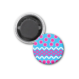 Bold Circles Squiggles Hot Pink Teal Pattern Magnets
