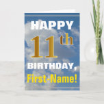 [ Thumbnail: Bold, Cloudy Sky, Faux Gold 11th Birthday + Name Card ]