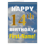 [ Thumbnail: Bold, Cloudy Sky, Faux Gold 14th Birthday + Name ]