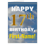 [ Thumbnail: Bold, Cloudy Sky, Faux Gold 17th Birthday + Name ]