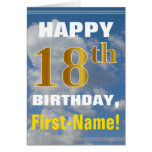 [ Thumbnail: Bold, Cloudy Sky, Faux Gold 18th Birthday + Name ]