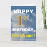 [ Thumbnail: Bold, Cloudy Sky, Faux Gold 1st Birthday + Name Card ]