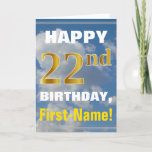 [ Thumbnail: Bold, Cloudy Sky, Faux Gold 22nd Birthday + Name Card ]