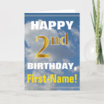[ Thumbnail: Bold, Cloudy Sky, Faux Gold 2nd Birthday + Name Card ]