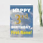 [ Thumbnail: Bold, Cloudy Sky, Faux Gold 3rd Birthday + Name Card ]