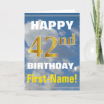 [ Thumbnail: Bold, Cloudy Sky, Faux Gold 42nd Birthday + Name Card ]