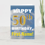 [ Thumbnail: Bold, Cloudy Sky, Faux Gold 50th Birthday + Name Card ]