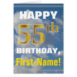 [ Thumbnail: Bold, Cloudy Sky, Faux Gold 55th Birthday + Name ]