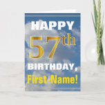 [ Thumbnail: Bold, Cloudy Sky, Faux Gold 57th Birthday + Name Card ]
