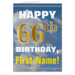 [ Thumbnail: Bold, Cloudy Sky, Faux Gold 66th Birthday + Name ]