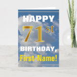 [ Thumbnail: Bold, Cloudy Sky, Faux Gold 71st Birthday + Name Card ]