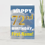 [ Thumbnail: Bold, Cloudy Sky, Faux Gold 72nd Birthday + Name Card ]