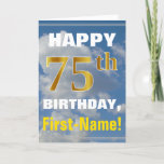 [ Thumbnail: Bold, Cloudy Sky, Faux Gold 75th Birthday + Name Card ]