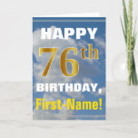 [ Thumbnail: Bold, Cloudy Sky, Faux Gold 76th Birthday + Name Card ]