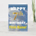 [ Thumbnail: Bold, Cloudy Sky, Faux Gold 7th Birthday + Name Card ]