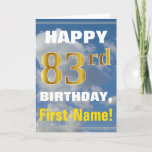 [ Thumbnail: Bold, Cloudy Sky, Faux Gold 83rd Birthday + Name Card ]