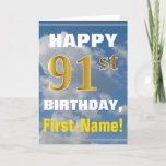 [ Thumbnail: Bold, Cloudy Sky, Faux Gold 91st Birthday + Name Card ]