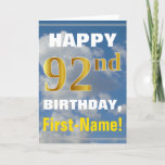 [ Thumbnail: Bold, Cloudy Sky, Faux Gold 92nd Birthday + Name Card ]